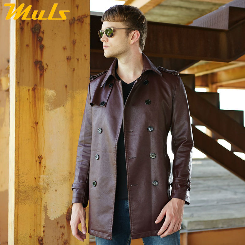 Smart Casual Trench Coat Faux Leather Jaket Men Adjustable Waist Double Breasted Man Overcoats Turn-down Collar Long Jacket Belt Men's Clothing Faux Leather Coats