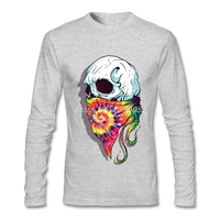 2017 T Shirt Men Skull Hipster Retro Unique Colorful Autumn Winter Clothing Luxury Brand Long Sleeve