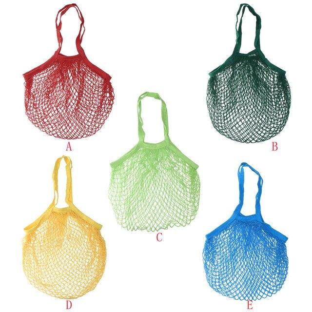 Saco de frutas saco de bolsas de tela de malha Malha de Algodão Shopper Tote sac filé coton Tecido Ombro Net Saco de acabamento Casa
