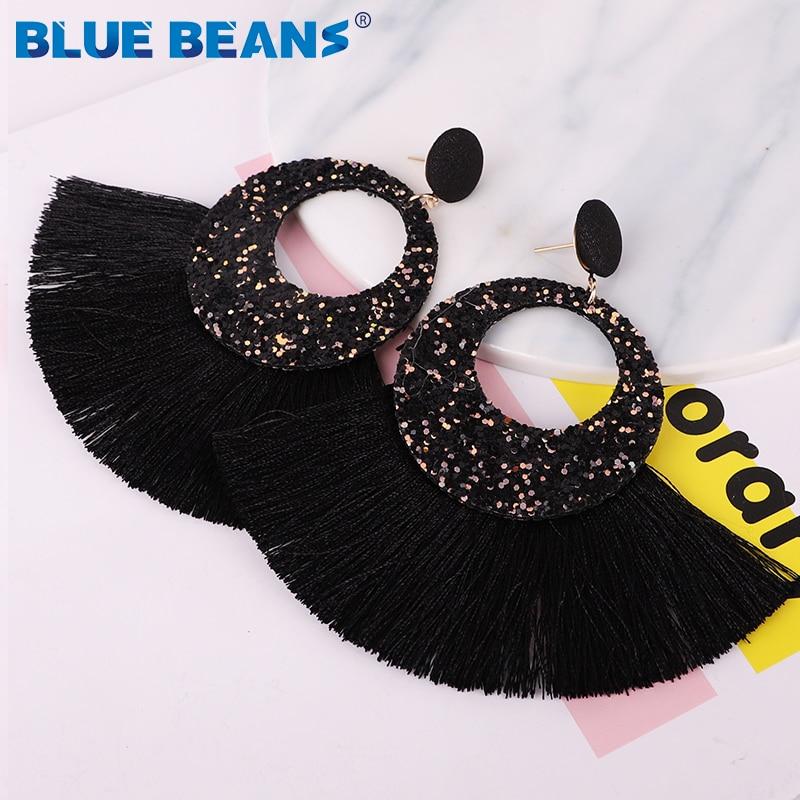 Tassel Earrings Shining Fashion For Women Boho Water Drop Earring Handmade Big Drop Dangle Round Jewelry Party gift statement 16