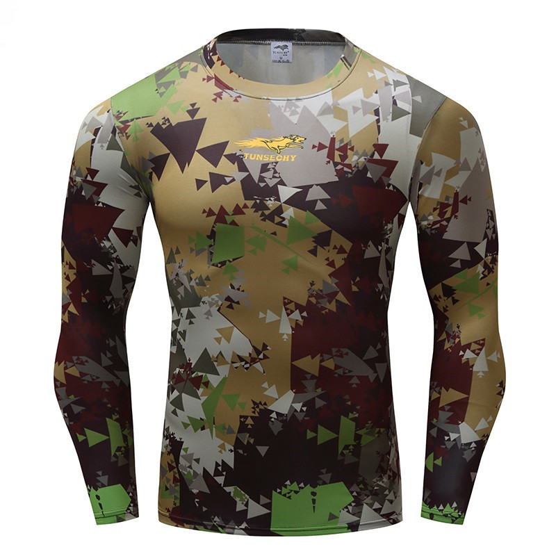 TUNSECHY Python Camouflage Male   T  -  shirts   Army Combat Tactical   T     Shirt   Military Men Long Sleeve   T  -  Shirts   Gyms workout tights