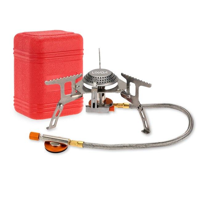 LIXADA 17*7 centímetros Mini Fogão A Gás Fogões de Acampamento de Dobramento Ao Ar Livre Portátil Forno de Cozinha Piquenique Fogões Dividir 3000 W queimadores fogão