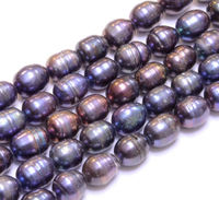 Huij 00634 5strand 10MM PEACOCK FRESHWATER PEARL RICE BEADS 15