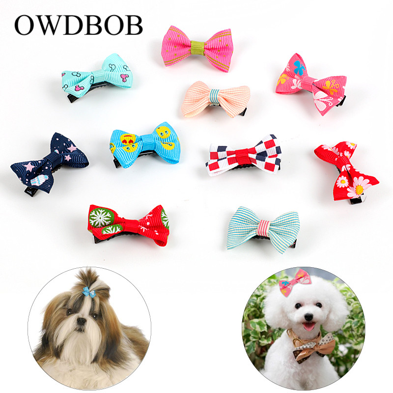 OWDBOB 10pc/set Pet Hair Clips Butterfly Hair Barrette Cute Dog Kitten Puppy Bow Hairpins Hairband Pet Grooming Beauty Supplies