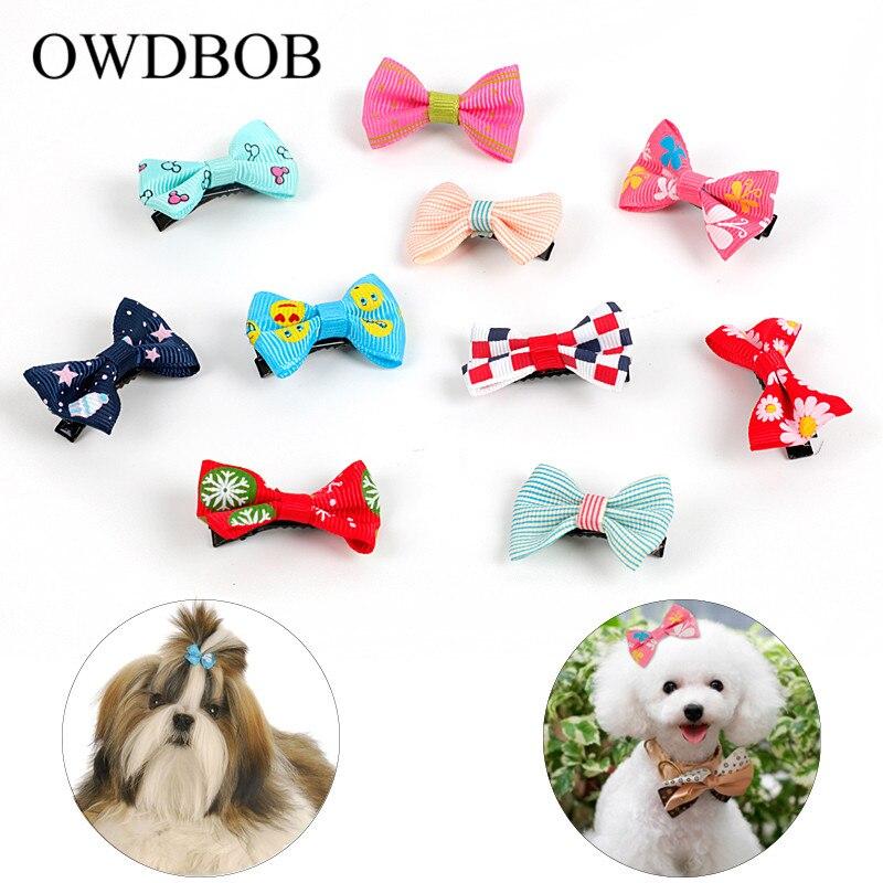 OWDBOB 10pc/set Pet Hair Clips Butterfly Hair Barrette Cute Dog Kitten Puppy Bow Hairpins Hairband Pet Grooming Beauty Supplies