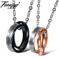 Titanium 316L Stainless Steel Ring Slideable Pendant Necklaces For Couples Wholesale 860