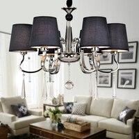現代シャンデリア深いブルーファブリックランプシェードシャンデリア現代照明リビングルームライト高品質金属塗