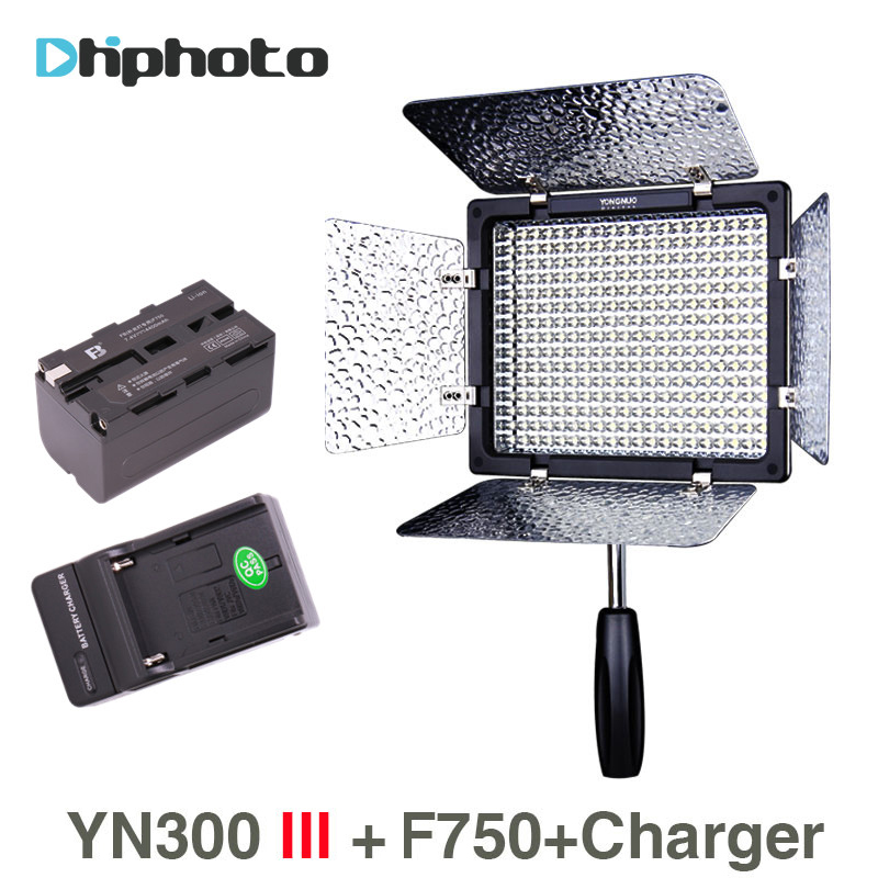 YONGNUO YN300 III YN300III 3200K to 5500K 300 LED Light with NP-F750 battery and Charger On Camera Fill Lighting for Wedding free shipping yongnuo yn300 iii led 5500k camera video flash light yn300 iii for dslr camera olympus app yongguo np 750 5200mah