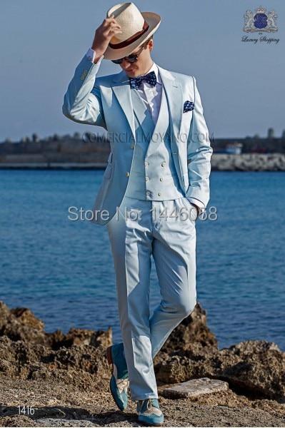 Men 3 Piece Light Blue Wedding Suit Groom Tuxedos Bridegroom Suit Custom