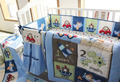 Free shipping Blue Boys Crib 100% cotton Bedding Embroidery plane ship cars House Bedding 4PCS Quilt Bed Around Fitted Bed Skirt