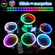 Aigo DR12 Computer Case PC Cooling Fan Light Bar RGB Adjust LED 120mm Quiet + IR Remote Cooler Fan led lights magnet lamp strips(China)