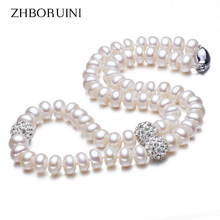 ZHBORUINI 2019 Pearl Necklace 925 Sterling Silver Jewelry For Women 8-9mm Crystal Ball Natural Freshwater Pearls Pearl Jewelry(China)