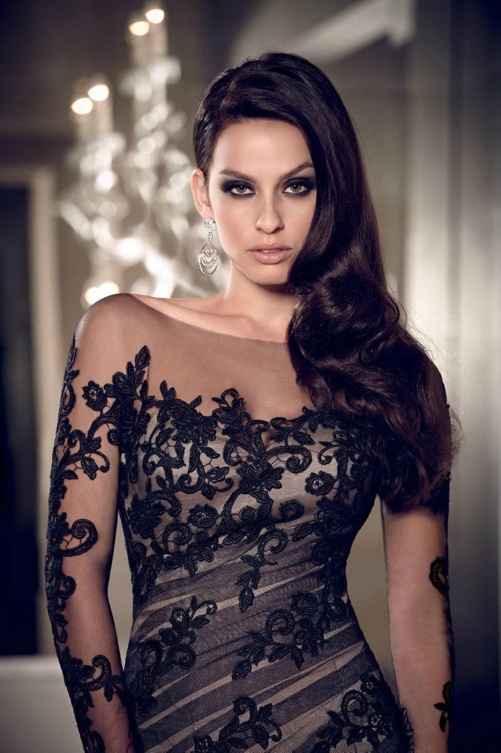 Sexy Black Lace Custom Jewel Wedding Gown Long Sleeve Mermaid Prom Evening Dress Size 2 4 6 18 20 22 24 26 Or In Cocktail Dresses From