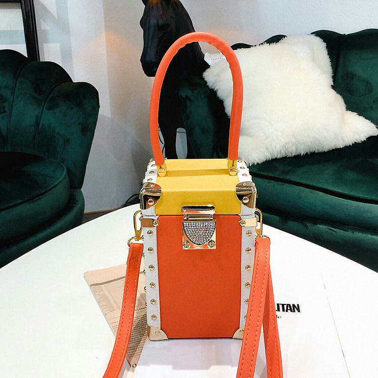 Good Quality Luxury Diamond Buckle Stitching Color Box Style Female Handbag Shoulder Bag Crossbody Mini Bag Shoulder Bag Totes