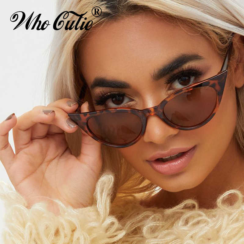 76f932fc32f WHO CUTIE 2019 EXTREME Cat Eye Sunglasses Women Brand Designer Vintage  Cateye Frame Narrow Retro Lady