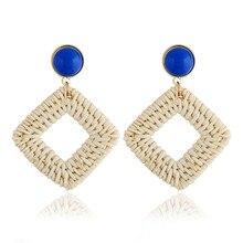 Square Wood Rattan Knit Drop Earrings for Women Fashion Hollow Out Wedding Statement Jewelry Dangle Earring Oorbellen цена 2017