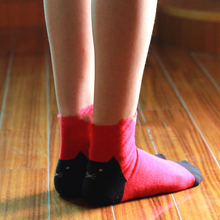 10pairs=1 lot cute autumn new arrival cat parrton cartoon women socks cotton high quality mid tube MF2645655