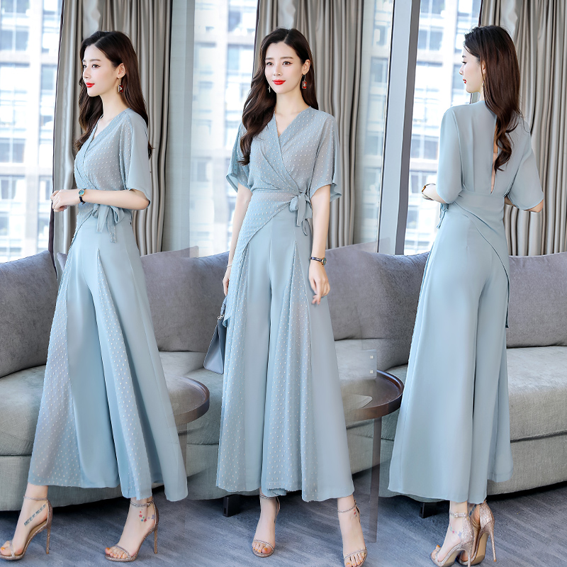2019 new Summer Women chiffon suits 2 Pieces Women shirt blouse tops and wide leg Pants