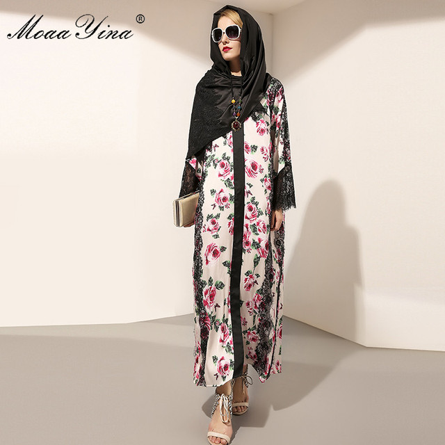 27f2fd1e39be MoaaYina Runway Maxi Dress Womens Long Sleeve Vintage Rose Floral Print Lace  Patchwork Loose Elegant Long Dress Robe femme+Scarf