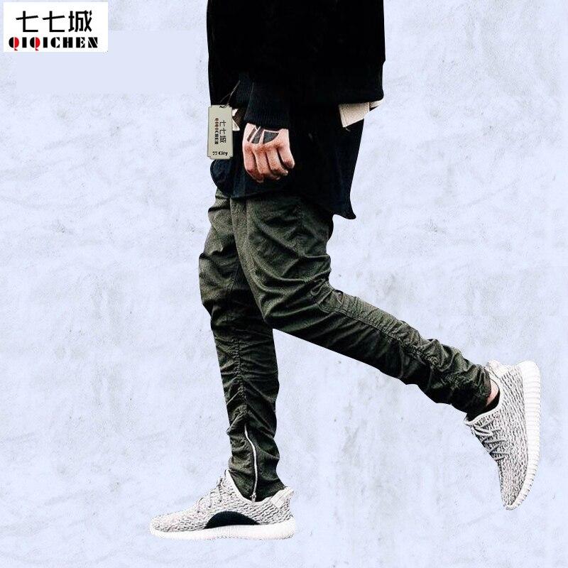Новые мужские брюки для бега, высокое качество, модные армейские зеленые мужские брюки на молнии, уличная одежда на завязках, хип-хоп штаны д...