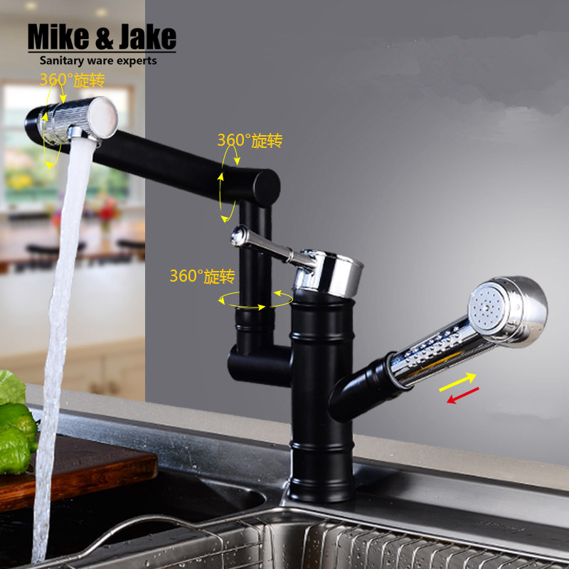 Black pull out kitchen faucet two function kitchen sink mixer black crane hot and cold pull