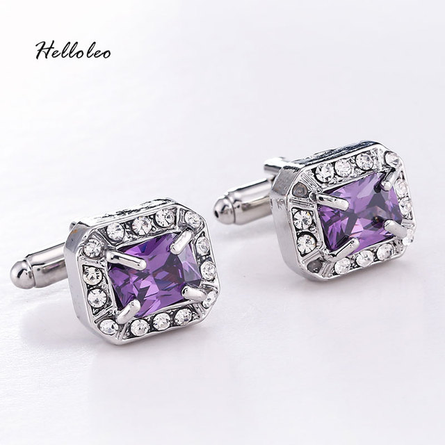 High Grade Silver Plated Cz Cubic Zircon Crystal Luxury Cufflinks Wedding French Cuff Links Jewelry 3 Color