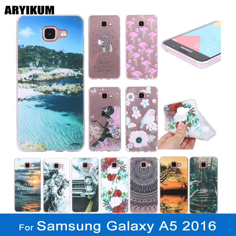 Izyeky Case For Samsung Galaxy A5 2016 A510f A510 Moon Space Animal Bear Cat Silicone Phone Cover For Samsung A5 2016 Coque Cellphones & Telecommunications Half-wrapped Case