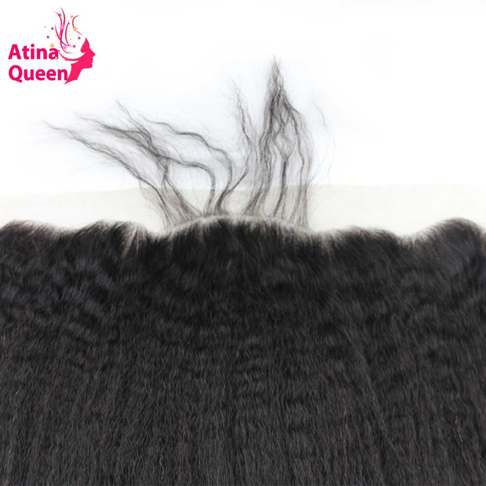 Atina reina rizado 13x4 de oreja a oreja llena de encaje cierre Frontal con el pelo del bebé italiano grueso Remy cabello humano envío gratis