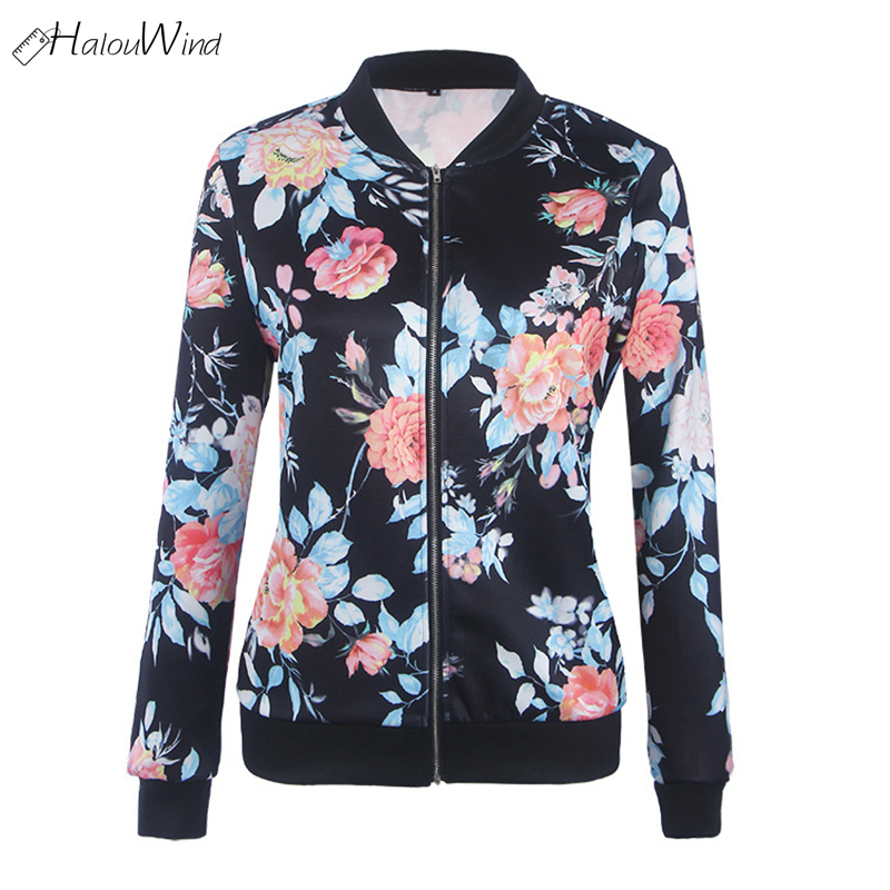 2018 New Spring Floral   Jacket   Autumn   Basic     Jacket   for Women Multicolor Collarless Elegant   Jackets   and Coats Feminina Outerwear