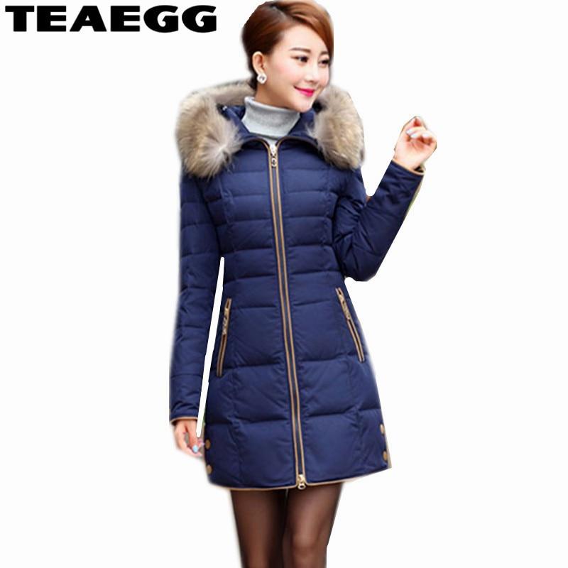 TEAEGG Women Down Jacket Coat Plus Size 5XL Real Raccoon Fur Collar Dark Blue Warm Women's Jacket Down Coats Women Parkas AL315