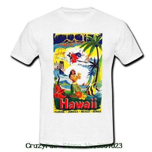 Hawaii Travel Hawaiian Hula Girl Surfer Mens Retro Vintage T-shirt Tee 50s 60s New T Shirts Funny Tops Tee Shirt