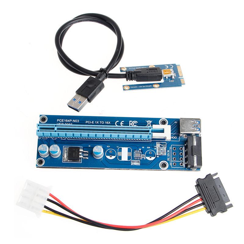 Mini Pci E 1x To 16x Pci Extender Riser Card Usb 3 0 Pci E