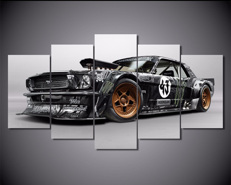 5piece Home Decoration Wall Canvas Posters Prints Ford Mustang Rtr Car Painting Wall Art Picture Prined