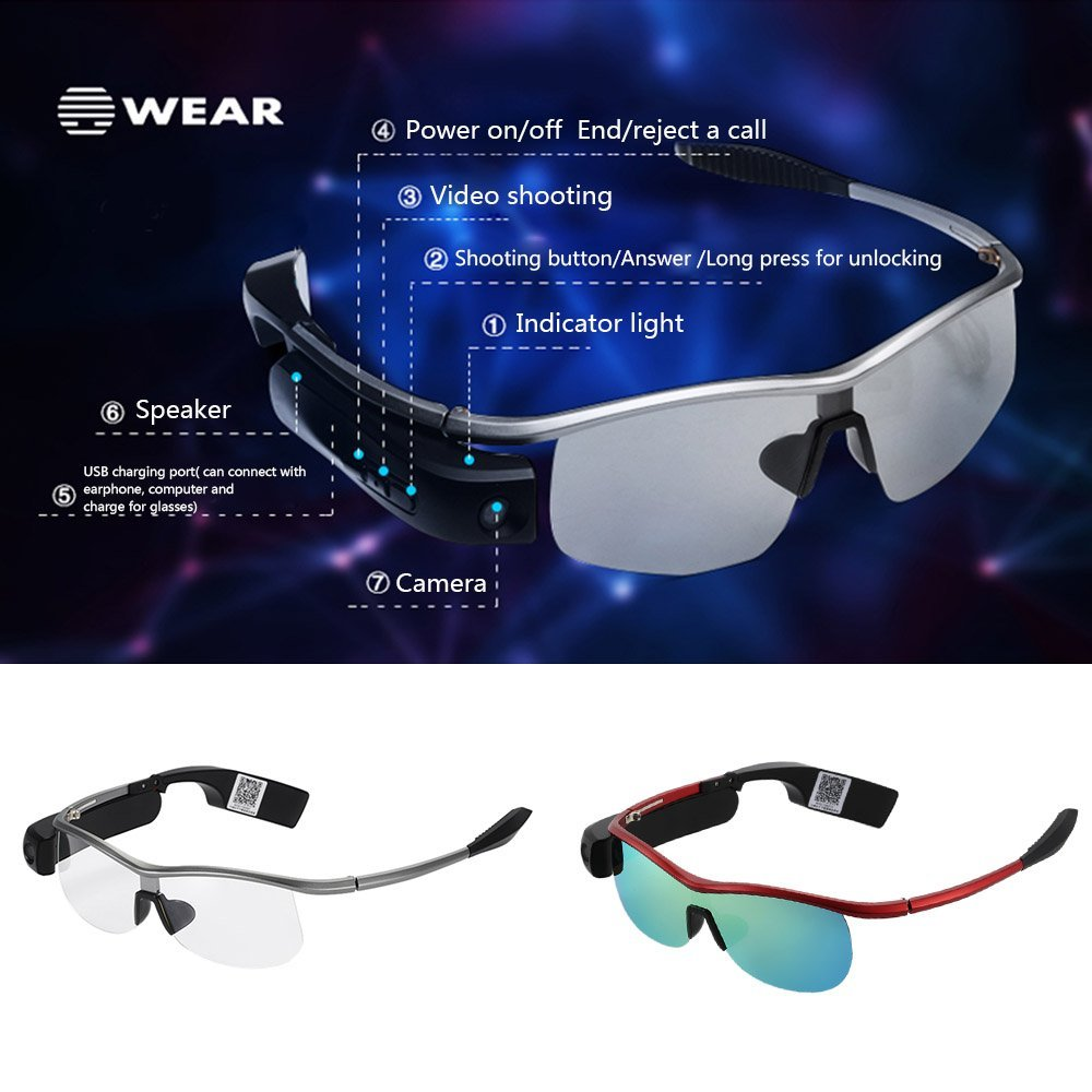 fc6a47dc8e5 Bluetooth Smart Glasses with Earphone Bluetooth 4.0 Wireless Polarized  Sunglasses 1080P Video Camera Recorder for iPhone Xiaomi on Aliexpress.com