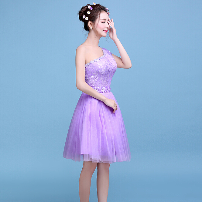 special occasion formal short one shoulder cheap modest light purple ...