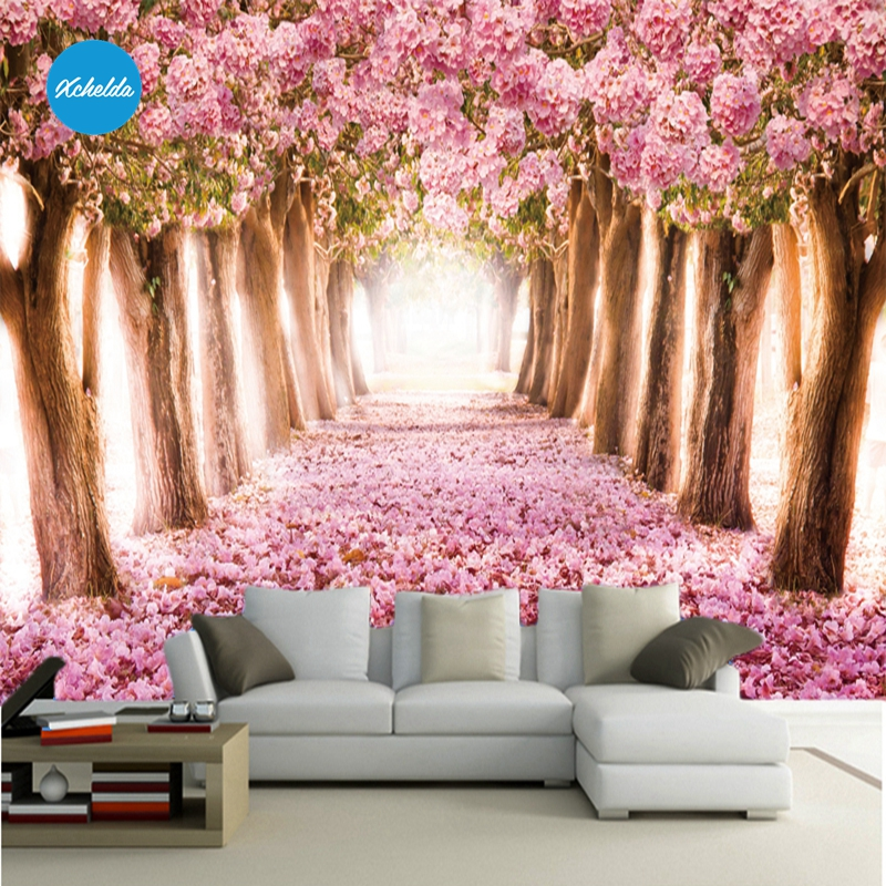 XCHELDA Custom 3D Wallpaper Design Sakura Photo Kitchen ...