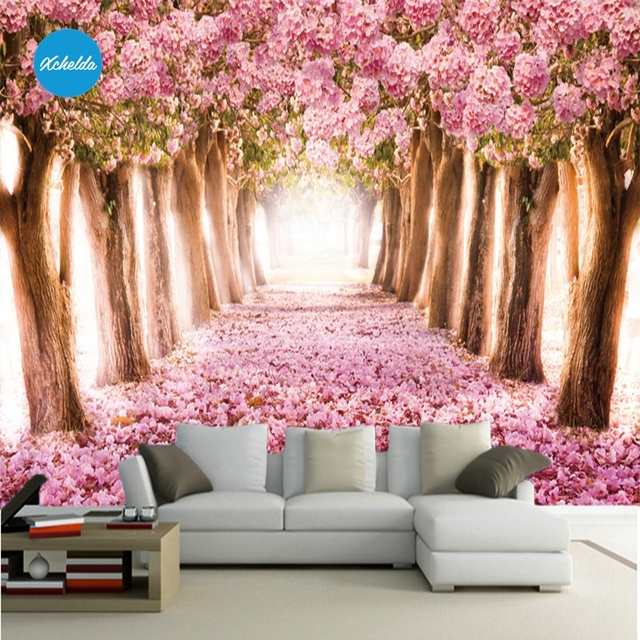 XCHELDA Custom 3D Wallpaper Design Sakura Photo Kitchen Bedroom ...