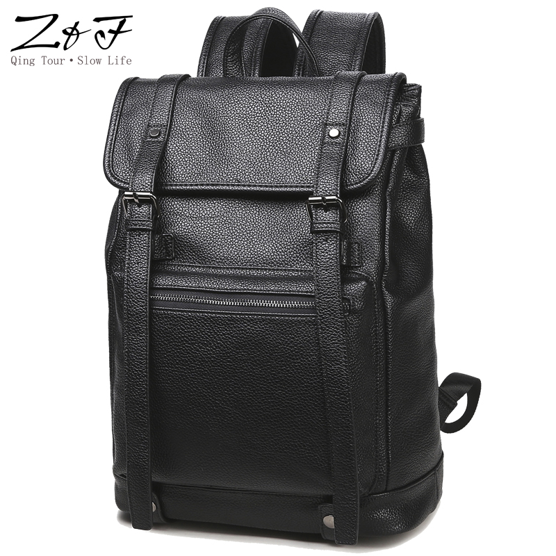 Men Business Casual Backpacks for School Travel Bag Black PU Leather  Fashion Shoulder Bags  Men's Backpack 15 inch laptop bag doodoo fashion streaks women casual bear backpacks pu leather school bag for girl travel bags mochilas feminina d532