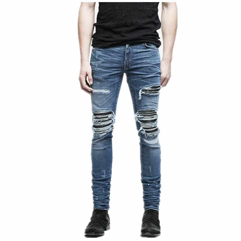 Men Fashion Brand Designer Ripped Biker Jeans Distressed Moto Denim Joggers Destroyed Knee black  Leather Pleated Patch Jeans