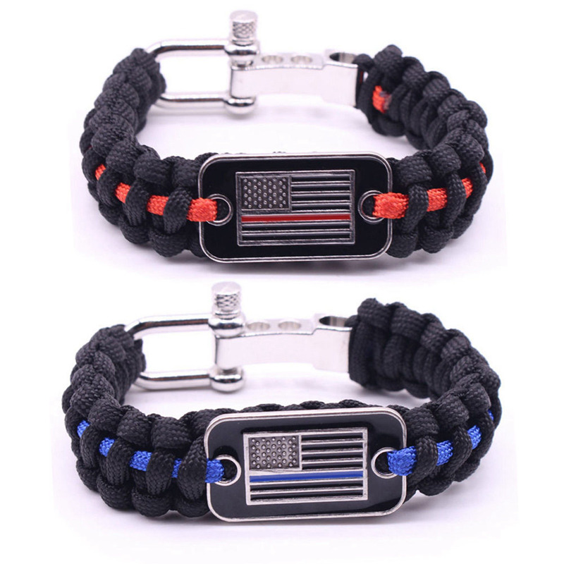 Unisex Outdoor Camping Tactical Survival Bracelet Wristband Emergency Adjustment Flag-fastening Umbrella Rope Bracelet