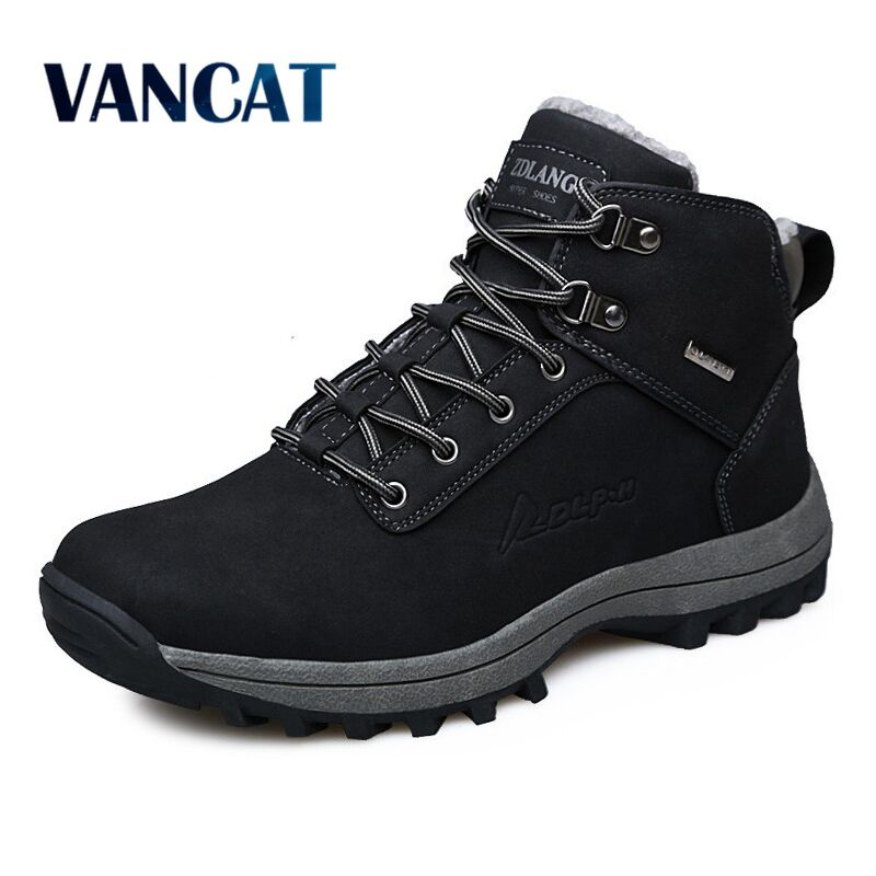 VANCAT Men Boots Winter With Fur 2017 Warm Snow Boots Men Shoes Footwear Fashion Male Rubber Winter Ankle Boots