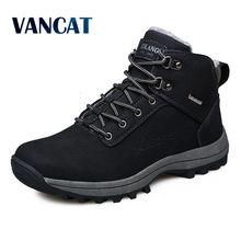 Vancat Мужские ботинки зимние с Мех Теплые зимние сапоги 2017 года Мужская обувь модные мужские зимние ботильоны на резиновой подошве