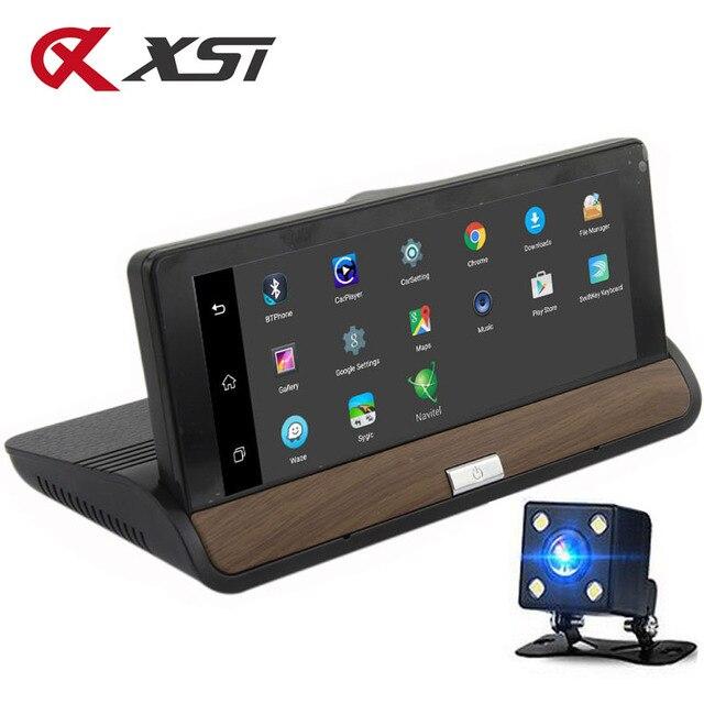 XST caméra DVR Full HD 5.0 P, dashcam, 7 pouces, IPS, Wifi 3G, Android 1080, Navigation GPS, enregistreur vidéo, Bluetooth, double objectif