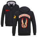 Free shipping The Warriors Zip Hoodie Sweatshirts crime Movie Men's Outerwear thicking Warm Jacket Casual Winter Coats wholesale