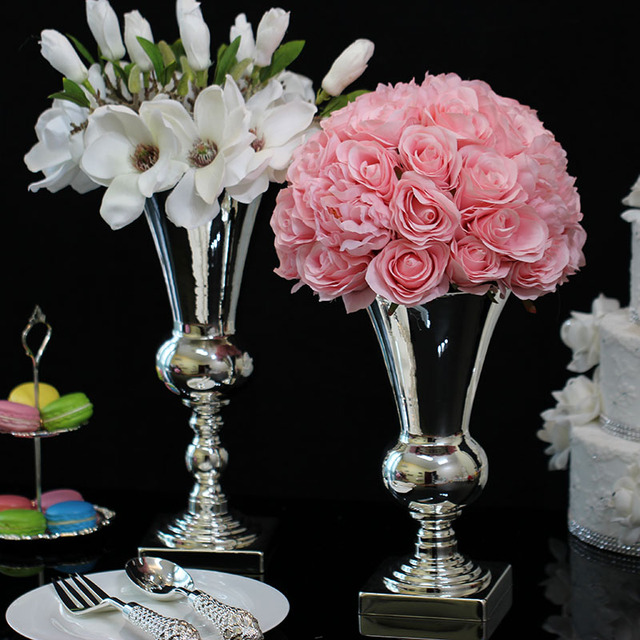 Silver Plated Vase For Flowers Iron Modern Hotel Table Home