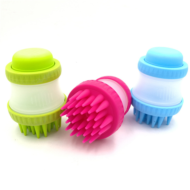 Pet Bath Brush Pet Dog Cat Bathing Brushes Pet Grooming Hand Brush With Container for Shampoo and Wash Massage Silicone Brush in Dog Combs from Home Garden