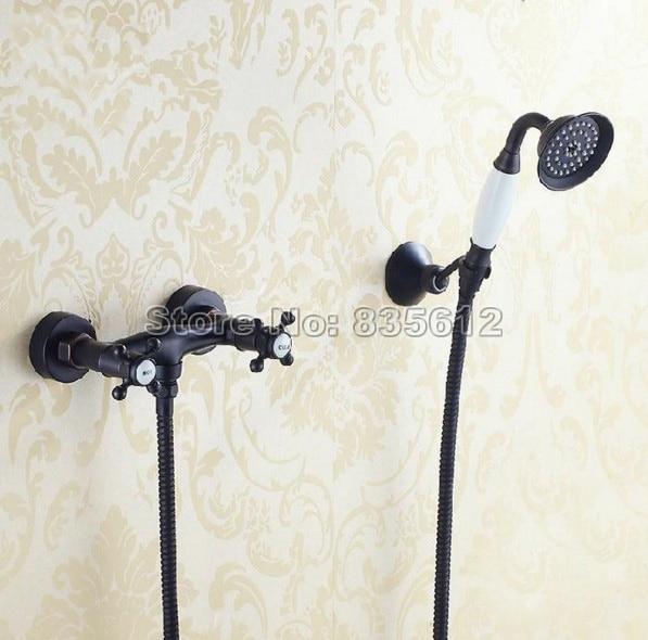 цена на Wall Mounted Black Oil Rubbed Bronze Finish Bathroom Shower Faucet Ceramic Handheld Shower Mixer Taps Dual Cross Handle jam002