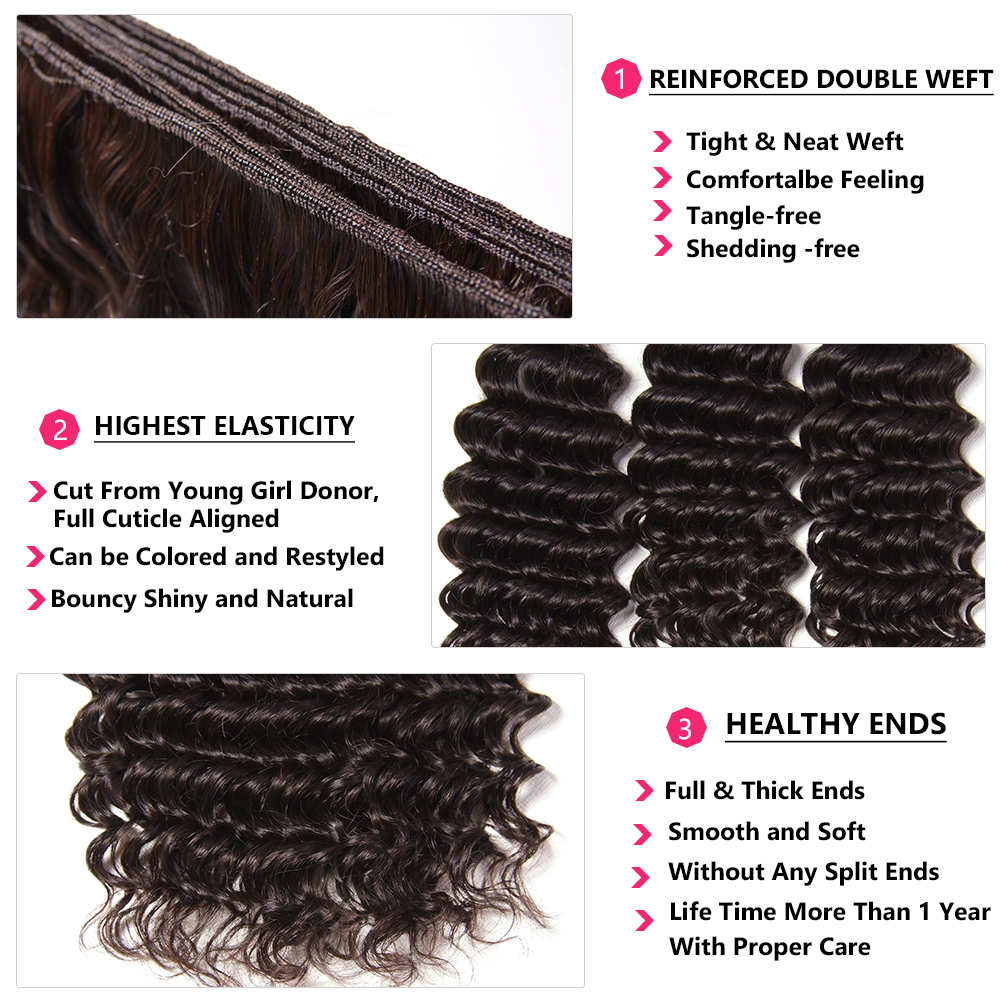 Nadula Hair With Closure Deep Wave  With Lace Closure 100%  Bundles With Closure Natural Color  Hair 4