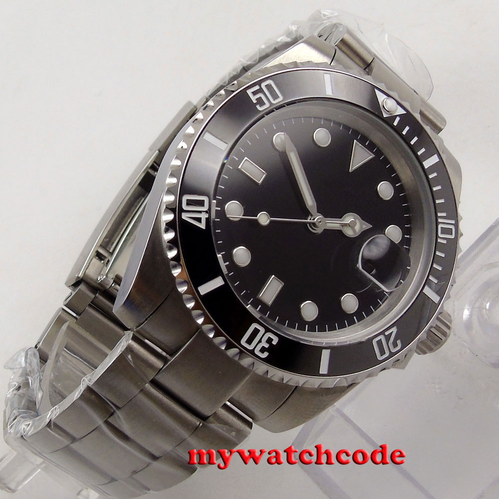 40mm Bliger black sterile dial sapphire crystal date window automatic mens watch 15740mm Bliger black sterile dial sapphire crystal date window automatic mens watch 157