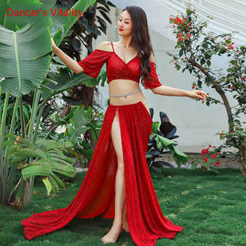 Ladies Suit Skirt Belly Dance Sexy Oriental Dance Mesh Split Long Skirt+Top 2pcs Belly Dance Set/Suit - DISCOUNT ITEM  10% OFF All Category